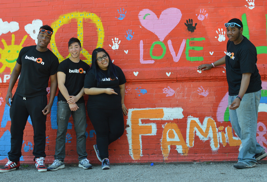 Naty and some of her buildOn friends at a service project on Chicago