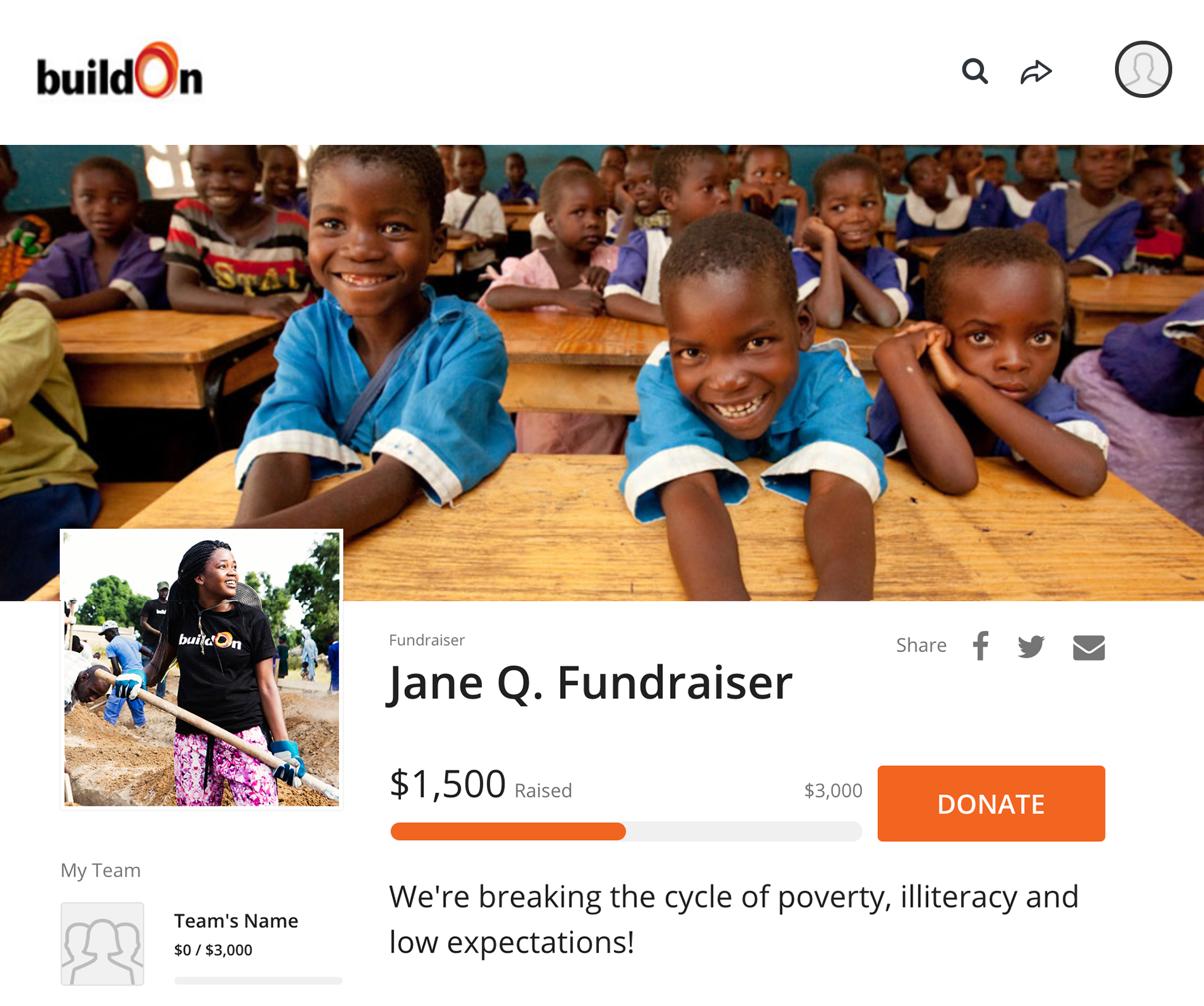 screen shot of online fundraising platform