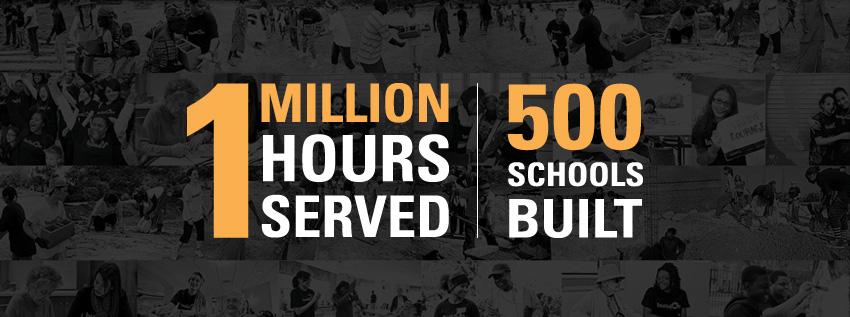 500 schools, 1 million hours