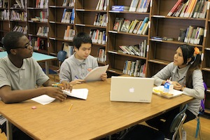 Freshman in Philadelphia's Youth Engagement Zone practice their interview skills.
