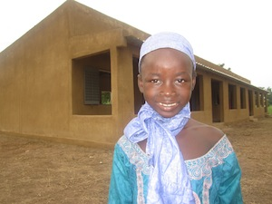 """Korotoumou Samake, 8, is attending a buildOn school in Bladie, Mali. """"Without this school, maybe none of us would get an education."""""""