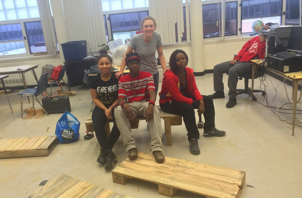 buildon students making benches out of pallets for MLK day